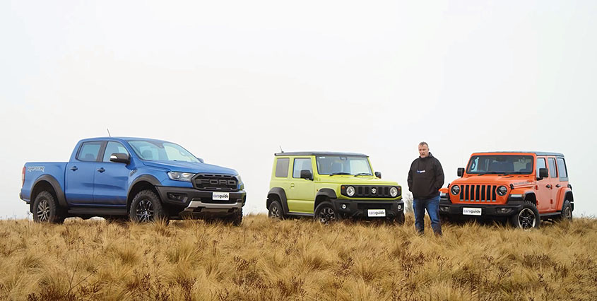 Австралийцы сравнили Ford Ranger Raptor, Jeep Wrangler Rubicon и новый Siziki Jimny