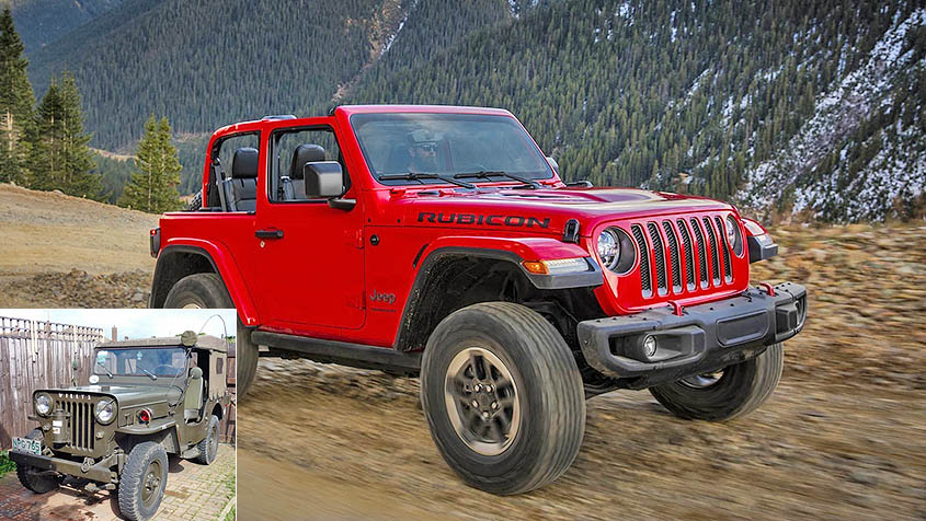 Jeep Wrangler Rubicon и его прародитель Willys CJ-3B
