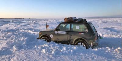 Ямальские экстремалы на «Ниве» пересекли пролив Невельского