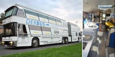 Двухэтажный автобус-«гармошку» превратили в 4-комнатный автодом с гаражом и верандой