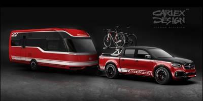 Пикапу Mercedes X-сlass с подъемником для велосипедов добавили прицеп-автодом