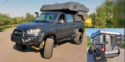 УАЗ Пикап оборудовали крошечным жилым модулем и этот автодом можно купить